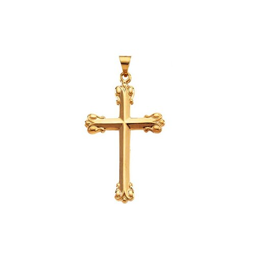 Jewelryweb 14k Yellow Gold Cross Pendant34.5x23.5mm