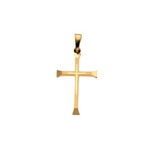 Jewelryweb 14k Yellow Gold Cross PendantCross In Center 24.5x16mm