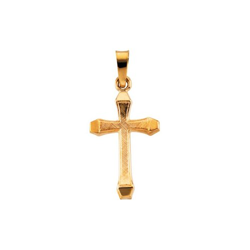 Jewelryweb 14k Yellow Gold Cross PendantWith Design 17x11mm