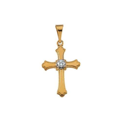 14k Yellow Gold Cross PendantWith Diamond 15x11mm