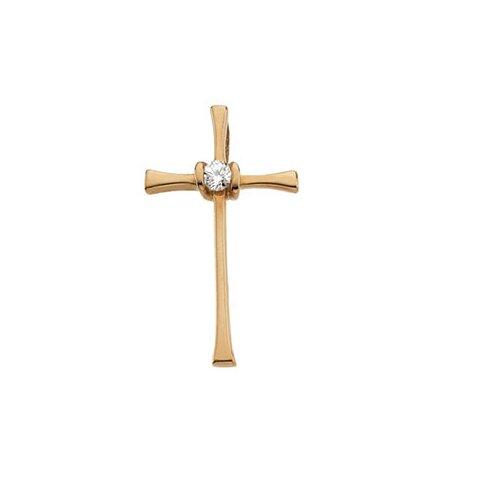 14k Yellow Gold Cross PendantWith Diamond 21x13mm