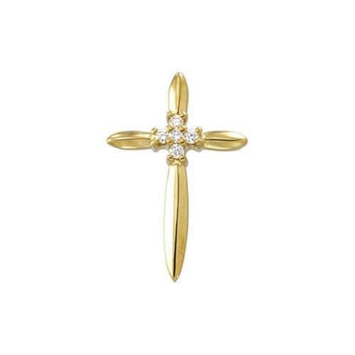 14k Yellow Gold Cross PendantWith Diamond 21x14mm