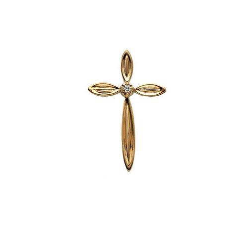 14k Yellow Gold Cross PendantWith Diamond 22.5x14.5mm