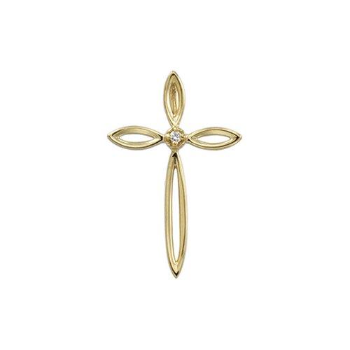 14k Yellow Gold Cross PendantWith Diamond 23x14.5mm