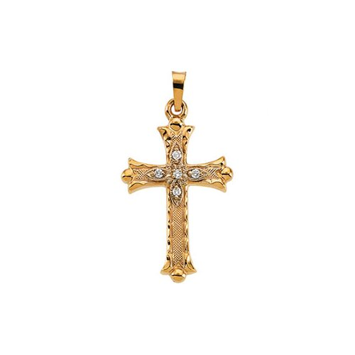 Jewelryweb 14k Yellow Gold Cross PendantWith Diamond 25.5x18mm
