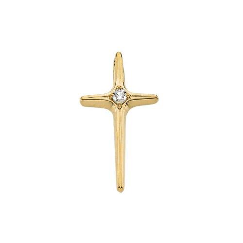 14k Yellow Gold Cross PendantWith Diamond 25x14mm