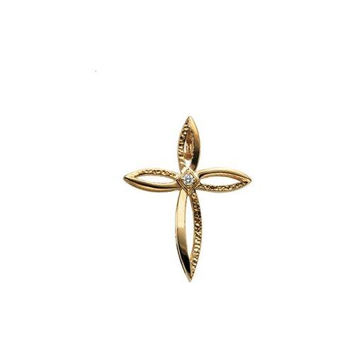 14k Yellow Gold Cross PendantWith Diamond 30x24mm