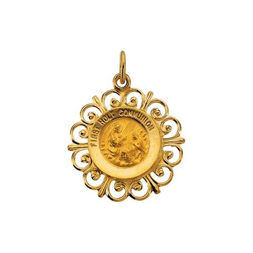 Jewelryweb 14k Yellow Gold First Communion Medal Pendant20x18.5mm