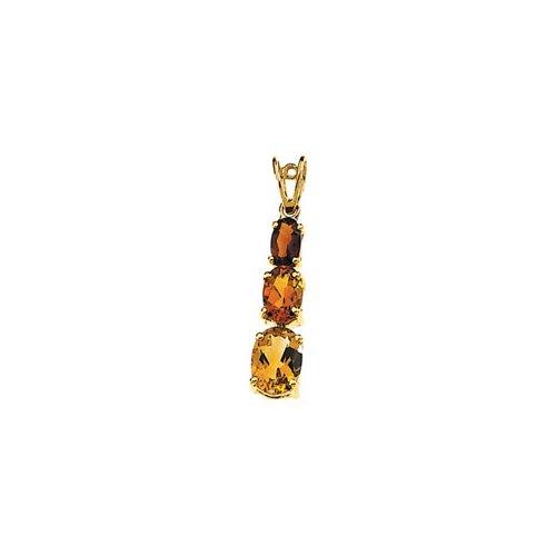 Jewelryweb 14k Yellow Gold Genuine Citrine And Madeira Citrine Pendant