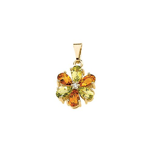 14k Yellow Gold Peridot Citrine Diamond Pendant