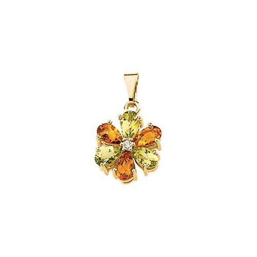 14k Yellow Gold Peridot Citrine Diamond Pendant