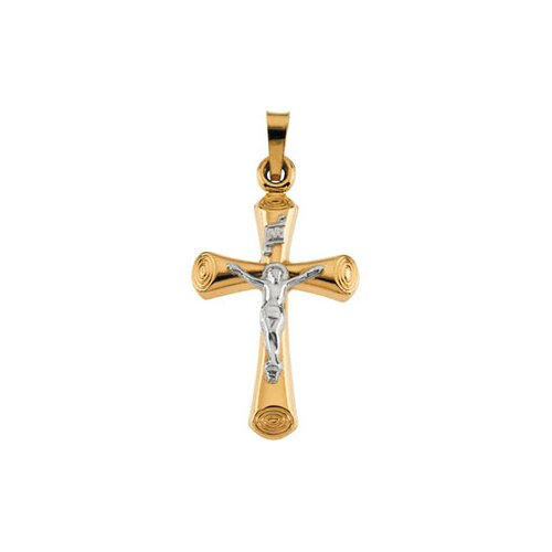 Jewelryweb 14k Yellow Gold Two-Tone Crucifix Pendant22x15mm