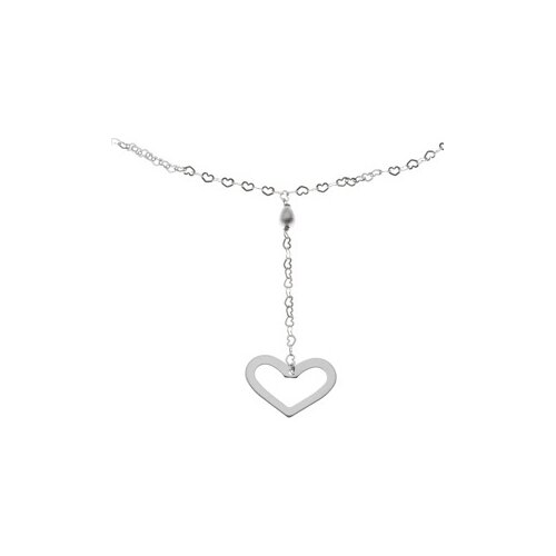 Sterling Silver Fashion Chain Necklace With A Heart 16 Inch