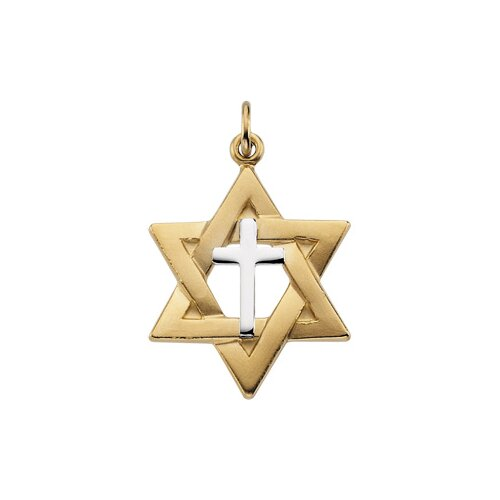Jewelryweb Sterling Silver Two-Tone Star Of David Pendant22x19mm