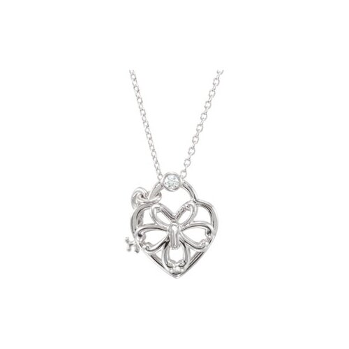 Jewelryweb Sterling Silver Diamond Heart Necklace .05ct 18 Inch