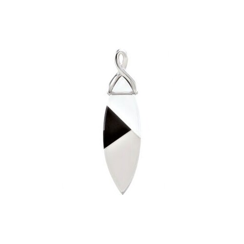 Jewelryweb Sterling Silver Genuine White Quartz Onyx and Smoky Quartz Pendant37x12mm