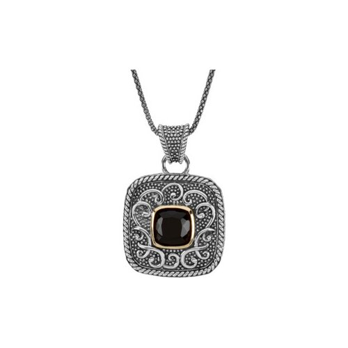 Sterling Silver Genuine Onyx Necklace 1mm