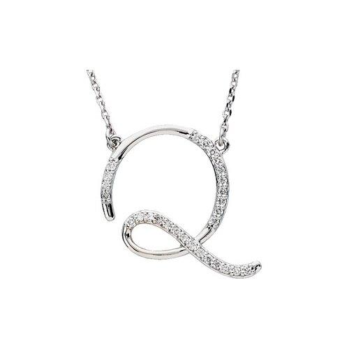 Jewelryweb Sterling Silver Diamond Necklace Q 1/6ct