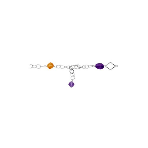 Jewelryweb Sterling Silver Genuine Amethyst Citrine Pink Chalcedony and Flourite Necklace 40 Inch
