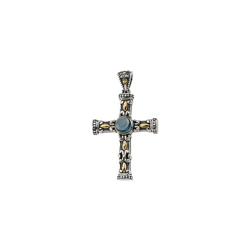 Jewelryweb Sterling Silver Genuine Cable Chain London Blue Topaz Cross Pendant40.25x24mm
