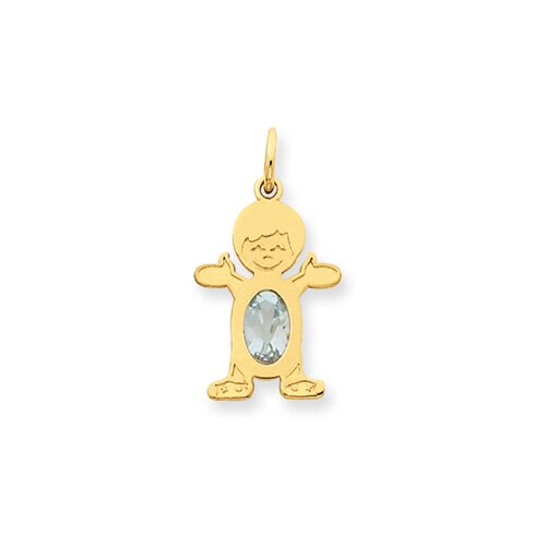 Jewelryweb 14K Boy Oval Genuine Aquamrine March Birthstone Pendant