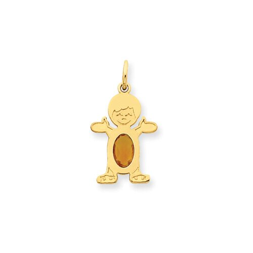 14K Boy Oval Genuine Citrine November Birthstone Pendant