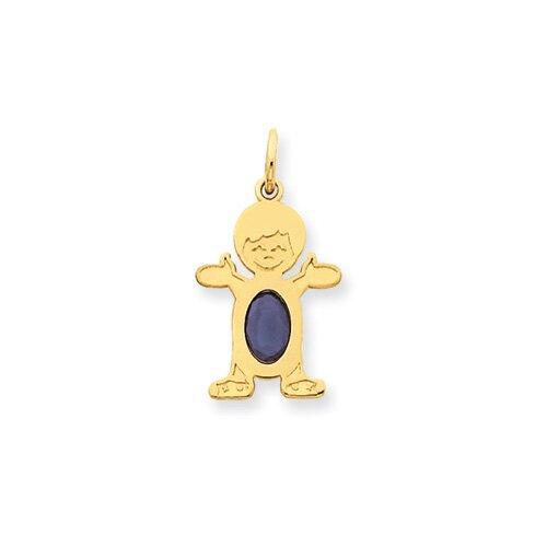 14K Boy Oval Genuine Sapphire September Pendant
