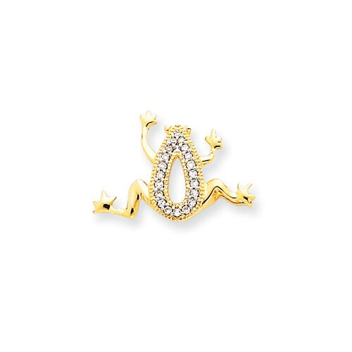 Jewelryweb 14k Diamond Frog Pendant