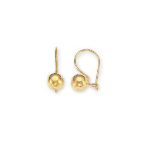Jewelryweb 14k Yellow 7 mm French Wire Ball Earrings