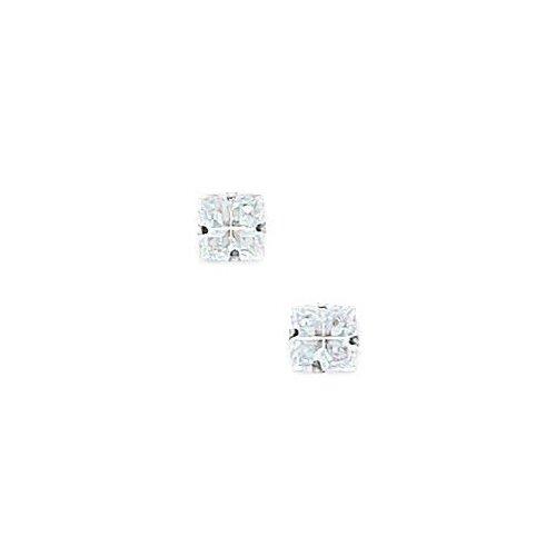 Jewelryweb 14k 4 Segment Square CZ Light Prong Set Earrings