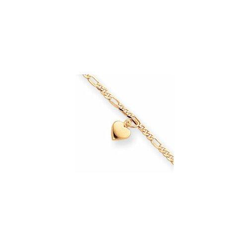 Jewelryweb 14k Polished Figaro Link Dangling Heart Anklet - Spring Ring