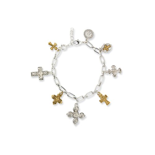 Jewelryweb Gold and Silver-tone Seven Cross Charm Bracelet