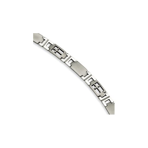 Jewelryweb Stainless Steel Cross and Link Bracelet