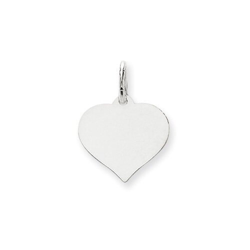Jewelryweb 14K White Gold Heart Disc Charm