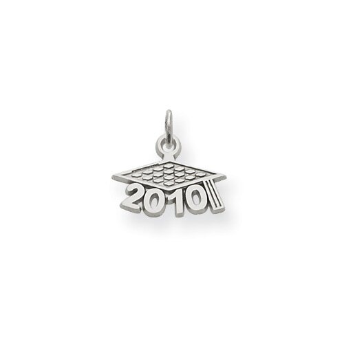 14K White Gold Satin Polished 2010 Graduation Charm