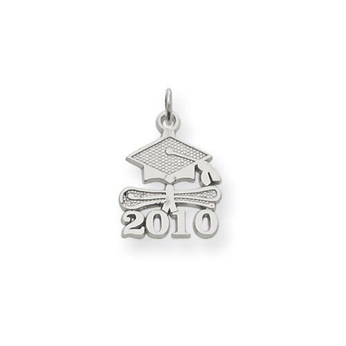 14K White Gold Solid Satin Polished 2010 Graduation Charm