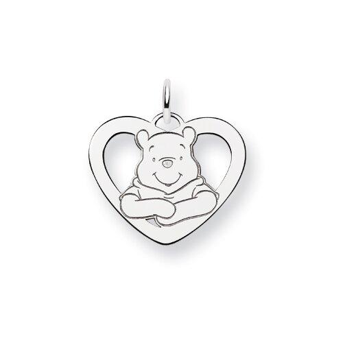 Jewelryweb Sterling Silver Disney Winnie the Pooh Heart Charm