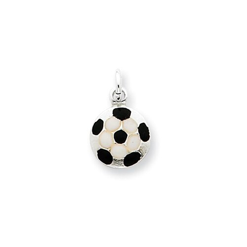 Jewelryweb Sterling Silver Enameled Soccer Ball Charm