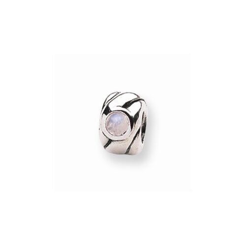 Jewelryweb Sterling Silver Reflections Synthetic Opal Cubic Zirconia Bead Charm