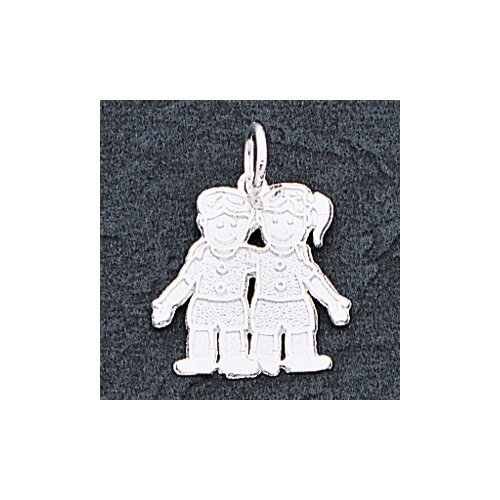 Jewelryweb Sterling Silver Boy Girl Charm