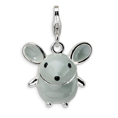 Sterling Silver 3-D Enameled Mouse with Lobster Clasp Charm