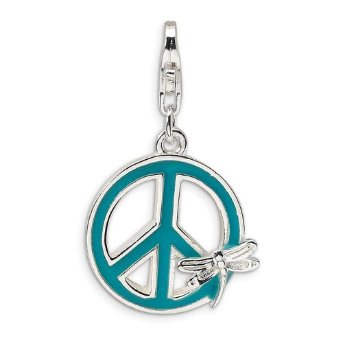 Sterling Silver Enamel Peace Sign with Dragonfly with Lobster Clasp Charm