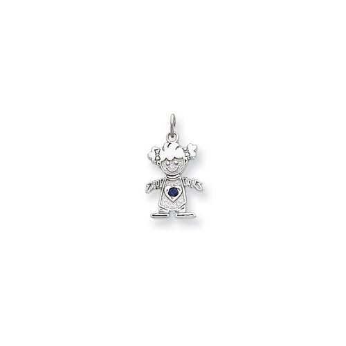 Jewelryweb 14k White Gold Cubic Zirconia Girl Birthstone Charm