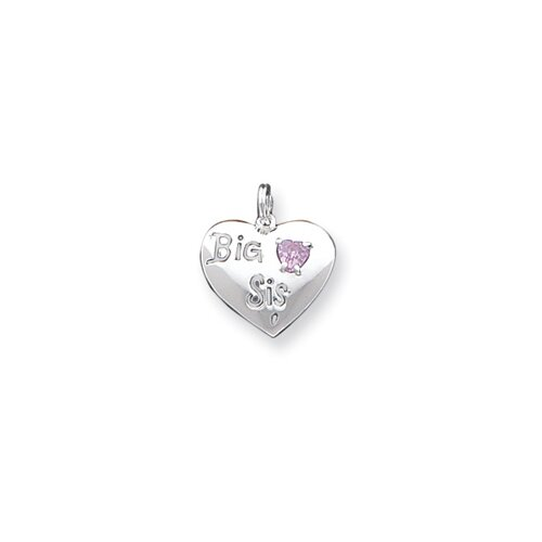 Sterling Silver Big Sis Cubic Zirconia Heart Charm