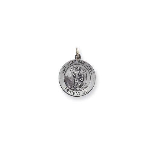 Jewelryweb Sterling Silver Guardian Angel Medal Charm