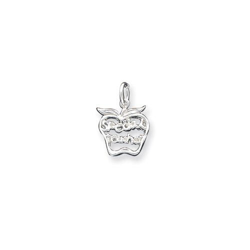 Jewelryweb Sterling Silver Special Teacher Apple Charm