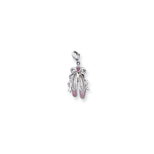 Jewelryweb Sterling Silver Enameled Ballet Slippers Charm
