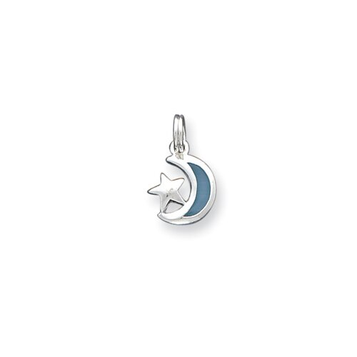 Jewelryweb Sterling Silver Enamaled Moon and Star Charm