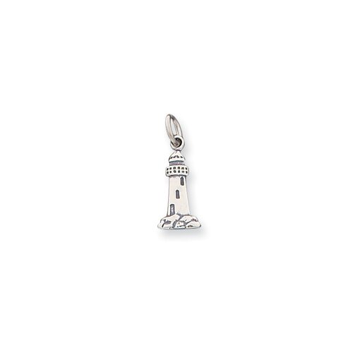 Jewelryweb Sterling Silver Antiqued Lighthouse Charm