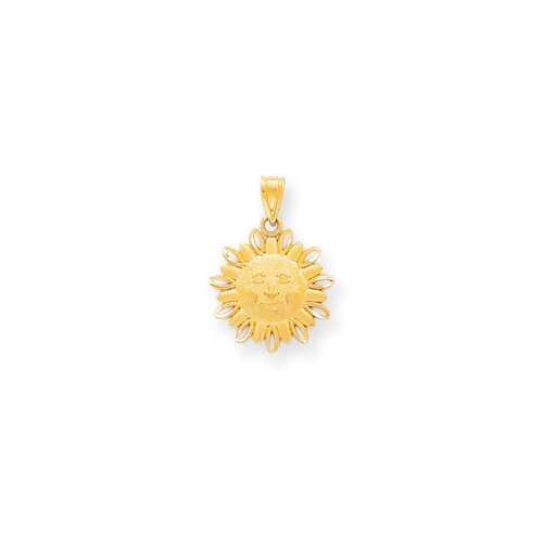 14k Diamond-Cut Medium Sun Charm
